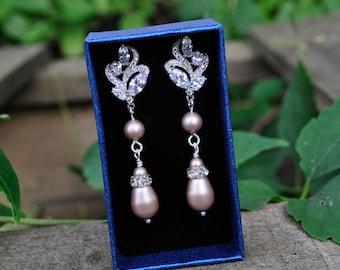 Long Bridal Earrings, Swarovski Pearl Drop Wedding Earrings