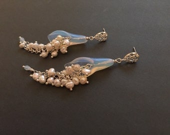 Calla Lily Bridal Earrings, Opal Crystal Bridal Earrings, Freshwater Pearl Wedding Earrings