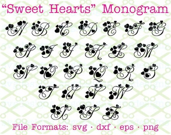 SVG Monogram Letters, Sweet Hearts Monogram Letters Svg Dxf Eps & Png. Wedding Monogram, Files for Cricut, Silhouette;Svg Files, Svg Designs