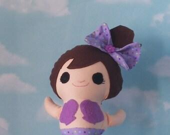 Purple Mermaid with Brown Hair