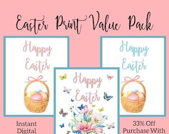Happy Easter Printable Wall Art Sign Set of 3, Easter Egg Basket, Easter Decoration, Spring Home Decor Print, Watercolor Flower Easter Print