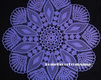 Sale! Crochet doily Purple violet Round 21.25 inches, black doily, white doily, beige