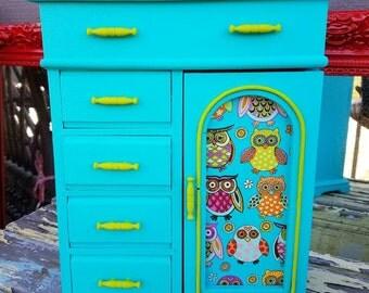 Vintage Upcycled Jewelry Box  Jewelry Storage Owl OOAK Shabby Chic Repurposed