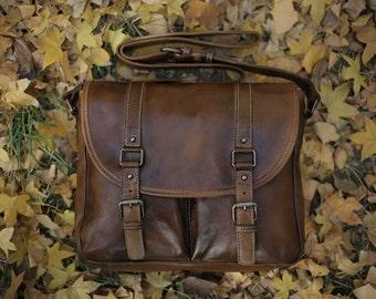 Vintage Brown Leather Messenger Bag/ Leather Crossbody Bag/ Leather Shoulder bag/ Vegetable Tanned/ Handmade