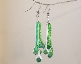 Green & White Glass Bead Drop Earrings