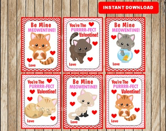 Cat Valentine Cards ,  Kitty Valentine's Card , Printable Kids Valentine's Day Cards instant download