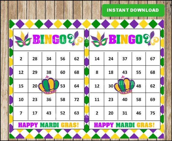Mardi gras bingo for kids