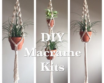 DIY Beginner Macramé Kit Plant Hangers Supplies Pattern Instructions  Single Short Long Double Three Ways Arts Crafts Macramé Fiber Arts
