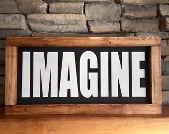 "IMAGINE | 24""x12"" Wood Sign | Home Decor | Shelf Sitter | Wall Hanger | Rustic Decor"
