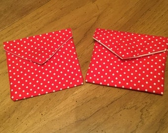 Pouches with Red and white poka dots