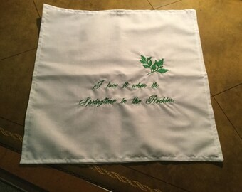 Hanky with Rocky Mountain embroidery.