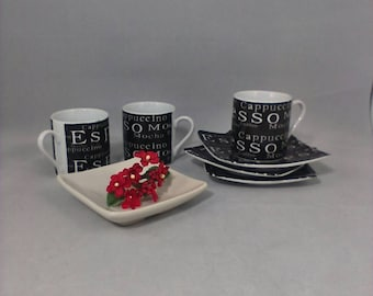 Espresso Mugs and Saucers Set of 3