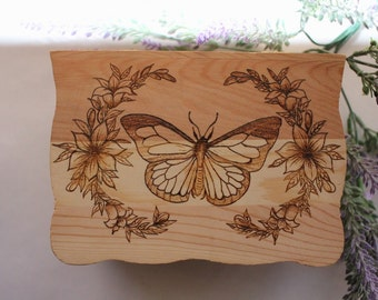 Butterfly Floral Wood Burned Box