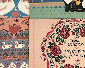 Set of 8 (2 of each design) vintage Country Friends Greeting cards with envelopes, blank inside