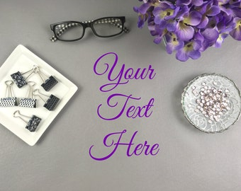 Gray And Purple Office Accessories Desktop Styled Stock Photo For Blogs,  Branding And Instagram |
