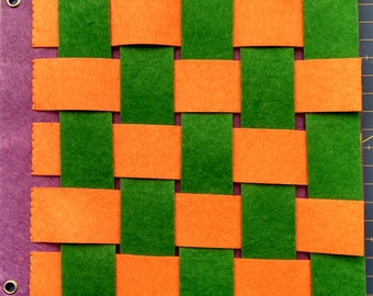 Activity for weaving and braiding by strips of felt
