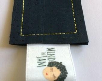 Blue Bookmark - Cork Bookmark - Leather Bookmark - Fabric Bookmark - Navy Bookmark - Vegan Leather Bookmark - Eco BookMark - Book Gifts