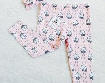 Baby leggings, smiling cloud ,pink cloud leggings