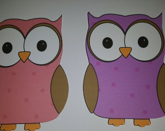 4 large coloured owl die cuts (2 in pink, 2 in purple). For card making, scrapbooking, home decor