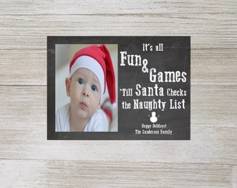 Custom Christmas card, holiday card, Naughty list, chalkboard, funny, photo card, santa, digital download, personalized, christmas card