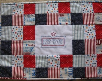 4th of July Embroidered and Quilted Placemats