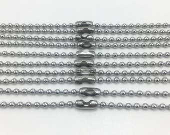 "24"" Stainless Steel Ball Chain Necklaces 10pcs 2.4mm"