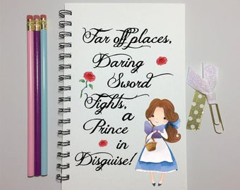 Beauty and The Beast, Belle, Quote, Journal, Bullet Journal, Notebook, Belle Journal, Sketchbook, Disney Journal, Spiral Journal, Gift,