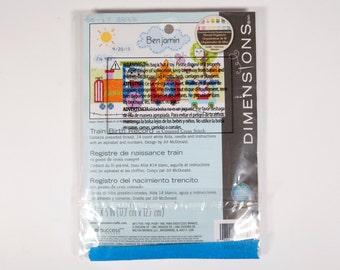 FREE SHIPPING: Dimensions Train Birth Record Cross Stitch Kit - Brand New