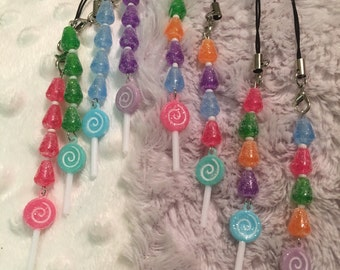 Lollipop and gumdrop phone charm / dust plug