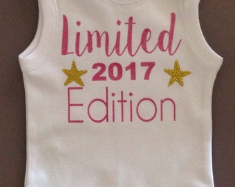 Limited Edition, new baby,birth announcement, bodysuit,t-shirt,girl, gift for baby,clothing,girly,baby shower gift,cute,photo shoot prop