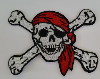 Skull and Crossbones Pirate Iron on Patch