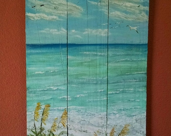 Beach Painting on Reclaimed Wood, Beach Scene, Gulf Coast Painting