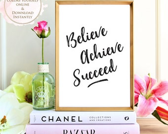 Printable wall art, Believe Achieve Succeed, Motivational art, Office, Studio, printable quote, Wall art prints, Home decor, Printable Gift