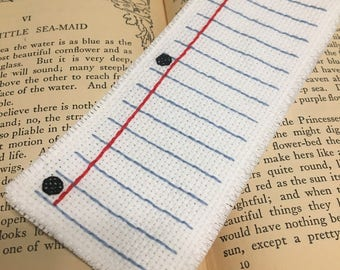 Notebook paper cross stitch bookmark