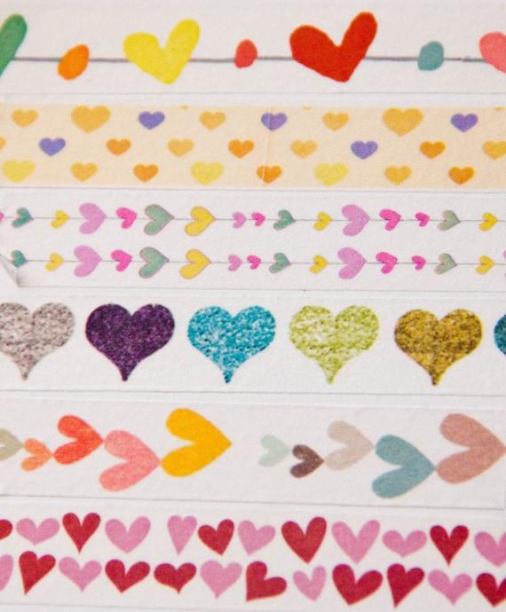 WASHI PRE-ORDER: 6 Rolls of Heart Themed Washi Tape (Japanese Tape, Decorative Adhesive, Decorative Tape)