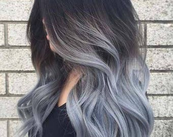 Silver Clip in Hair Extensions : Dark Silver Clip In Hair Extensions, Silver Hair Extensions, Silver Hair, Custom Hair Extensions, Clip in