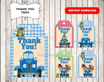 Little Blue Truck Thank you Tags instant download , Little Blue Truck Thank you Tags, Printable Little Blue Truck party tags