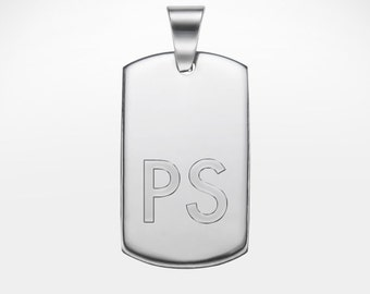 Necklace with Dog Tag - Personalised with Initials - Pendant with Engraving - Gifts for Men