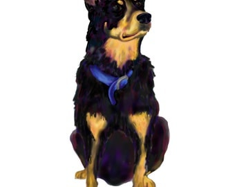 Colorful Custom Single Pet Portrait- DIGITAL