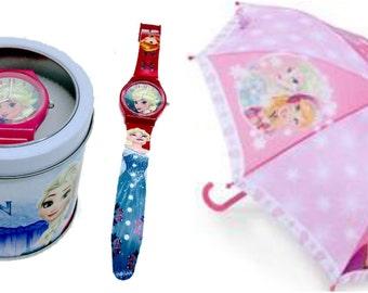 Disney Frozen Girls Brolly and Watch Gift Bundle Set