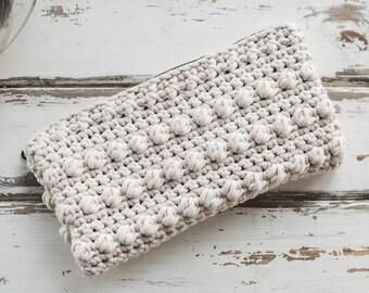 Lined Crochet Clutch--Cream
