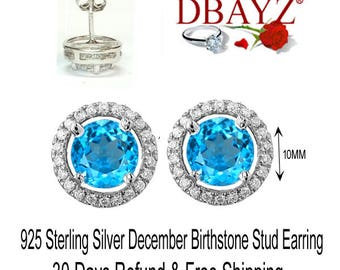 December BirthStone Blue Topaz Halo Stud Earring Sterling Silver Free Shipping