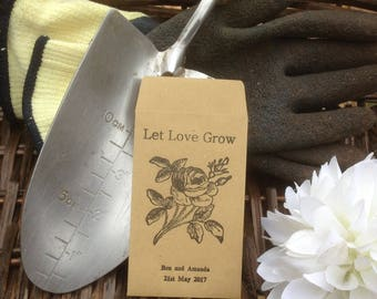 10 x Personalised Wedding Favour Seed Packets  - 'Let Love Grow - Flowers 6'