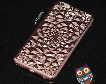 Rose Red Gold Geometric  Diamond Pattern Phone Case Protection for iPhone 6 iPhone 6s iPhone 7 iPhone 7 Plus Made from High Quality Silicone