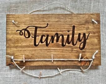 Custom Hand Burned Family Sign- Custom Family Photo Hanger - Family Picture Display - Wood Sign - Gift