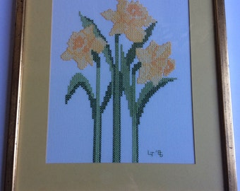 Vintage Completed and Framed Daffodil Cross Stitch