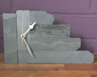 Individually Designed Slate Clock – Modern, suitable for mantel or wall