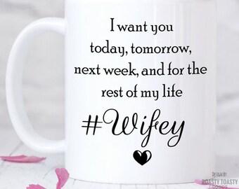 Wife Coffee Mug - Wifey Mug - Wife and Husband - Wifey and Hubby - Annivesary Gift - Wifey Mug - Wedding Gift - Newlywed - Wife Birthday