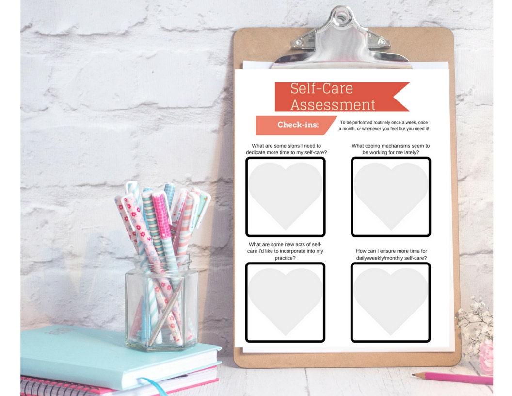 SelfCare Assessment Worksheet PRINTABLE INSTANT DOWNLOAD – Self Care Assessment