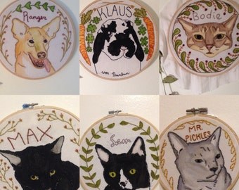 Custom Pet Portrait Embroidery Hoop Art